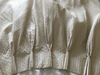 Gold pencil pleated lined pair of lined curtains (used)