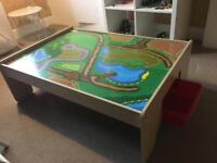 BIG JIGS RAIL - TRAIN TABLE WITH 2 RED DRAWERS