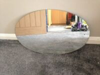 Plain oval mirror, hand portrait or landscape, no fixings