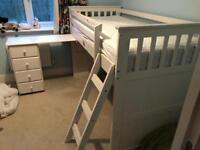 Cabin bed with bookcase and chest of drawers