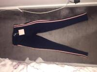 MISSGUIDED Carli Byble stripe slinky legging - navy and pink