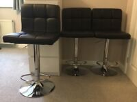 3 Faux Leather Bar Stools, with pneumatic lift mechanism and polished chrome base