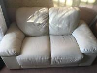 Cream leather sofa 2 seater