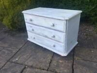 PINE chest of drawers on BUN FEET shabby chic vintage style