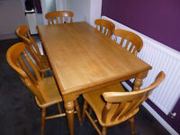 Beautiful dining table with 6 farmhouse solid wood chairs