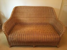 Quality wicker conservatory sofa with 4 cushions