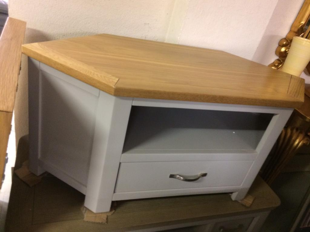 New grey and oak tv unit