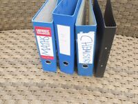 3 Royal blue lever arch files and 1 black ring binder