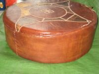 Moroccan Leather Pouffe for £8.00