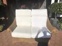 Wicker furniture - 2 seater sofa, 2 chairs and footstool