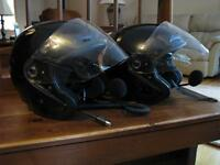 2 motorcycle helmets with flip visor/ 2 honda headsets /new