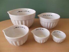 Crofton Set of 5 White Porcelain Measuring Bowls NEW aldi, baking, bakeware, cookware, kitchen