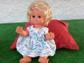 Vintage Franco 1970s Doll Wearing Vintage Hand Knitted 1970s clothes