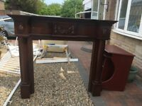 Mahogany fire surround and hearth