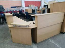 Large oak effect reception corner desk