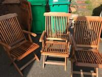 8 wooden garden chairs