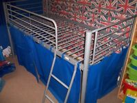 KIDS METAL HIGH SLEEPER BED WITH SIDE CURTAINS