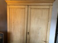 1890's Shabby Chic Stunning Stripped Double Wardrobe