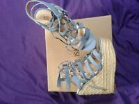 River Island women's size 6 caged wedge heel shoes tie up baby blue