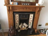 Wooden fire surround and inset