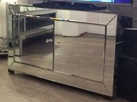 Mirrored coffee table and corner TV unit