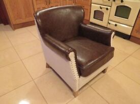 Rolled Arm Studded Chair