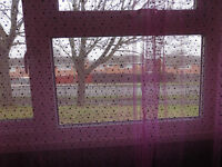 Pair pink net curtain panels