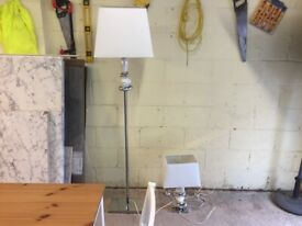 Italian Floor Lamp and Table Lamp to Match Chrome Marble Effect