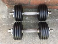 SET OF SOLID BAR DUMBELLS WITH 16KG OF CAST IRON WEIGHTS