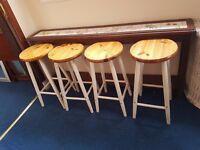 4 Pine Kitchen Stools