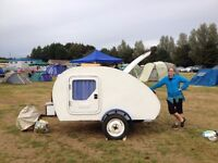 Teardrop Trailer- 2 berth, electric lights, charging points, awning, alloy body & fully insulated!