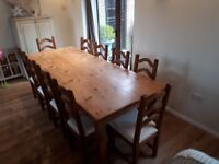 Solid Wood Dining Table with 10 Chairs