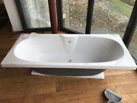 White Ceramic 1.5 Kitchen and Carronite bath, brand new