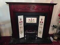 mahogany fire surround with chrome fire