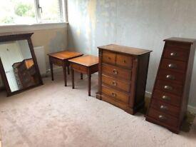 Solid dark Drimmer Le Bonheur Interieur wooden furniture set - bedside tables, dresser and mirror