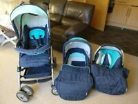 Hauck Push chair + car seat + carry cot