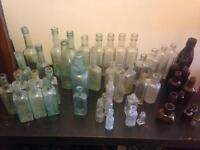 50 old antique glass bottles
