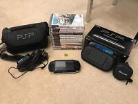 PSP, 10 games, 2 movies, case and bag