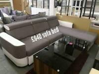 Corner Sofa Bed white/grey