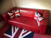 Retro Red Leather Sofa