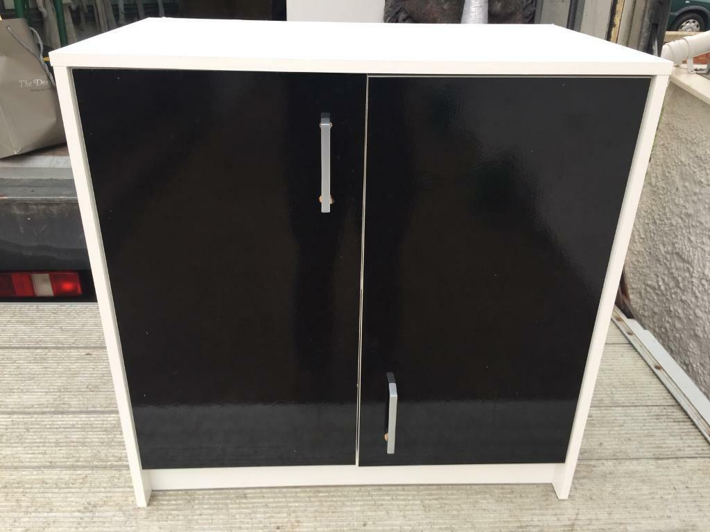 White with black doors cabinet from ikea