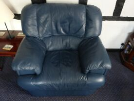 Blue leather armchair