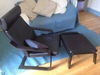 Black Leather Ikea Poang Chair With Foot Stool