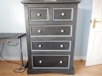 Stunning Shabby Chic Solid Wood Tall Chest of Drawers