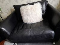 Black leather sofa/cuddle chair