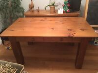 One piece solid pine dinning table