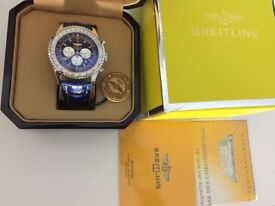 New Swiss Breitling Navitimer Blue Dial Leather Strap CHRONOGRAPH Watch