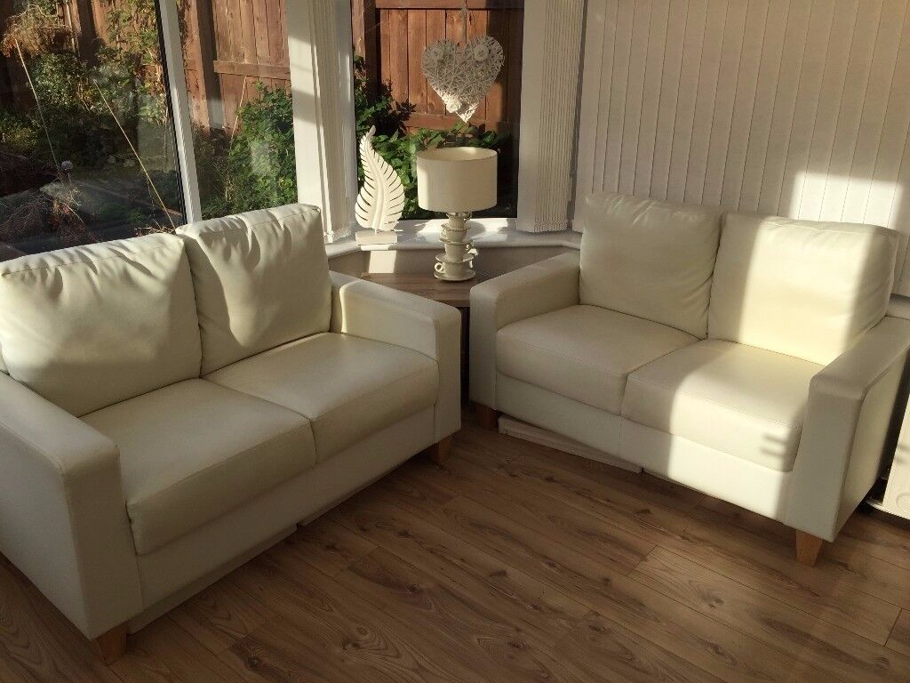 Soft Leather Effect Sofa sofas priced for quick sale. Couch, cream sofa