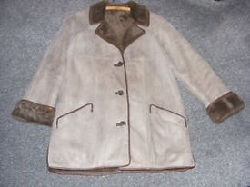 Ladies Grey Genuine Sheepskin Coat Size 16