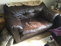 3 seat & 2 seat leather sofa, dark brown, excellent condition